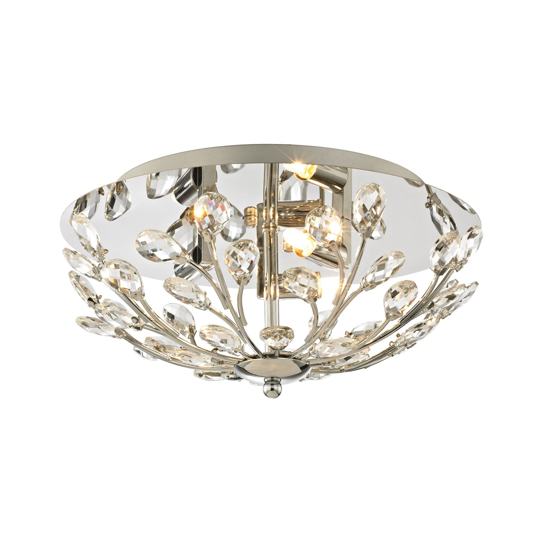 Crystique 3 Light Flush In Polished Chrome Flush Mount Elk Lighting