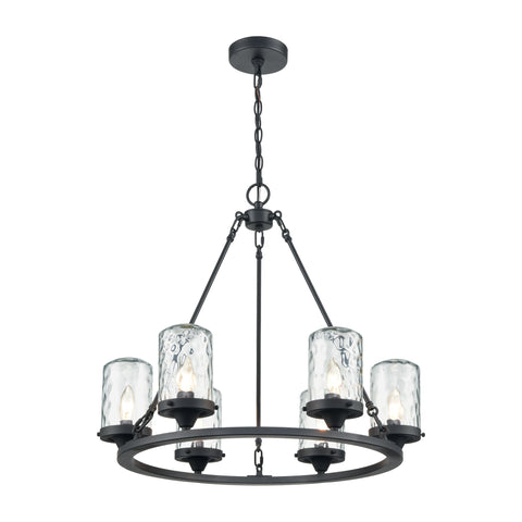 Torch 6-Light Outdoor Chandelier in Charcoal with Water Glass