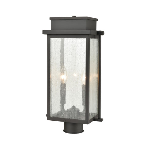 Braddock 2-Light Outdoor Post Mount in Architectural Bronze with Seedy Glass Enclosure