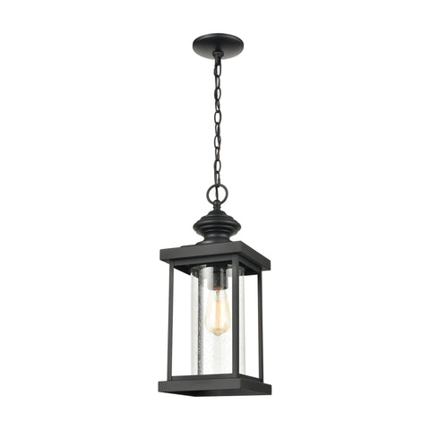 Minersville 1-Light Outdoor Pendant in Matte Black with Antique Speckled Glass