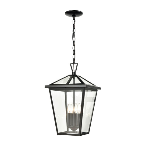 Main Street 4-Light Outdoor Pendant in Black with Clear Glass Enclosure