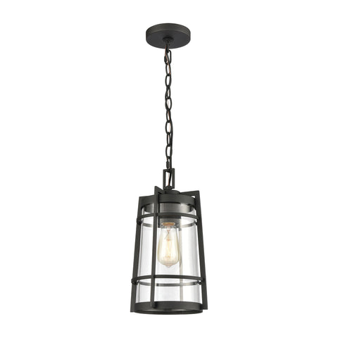 Crofton 1-Light Outdoor Pendant in Charcoal with Clear Glass