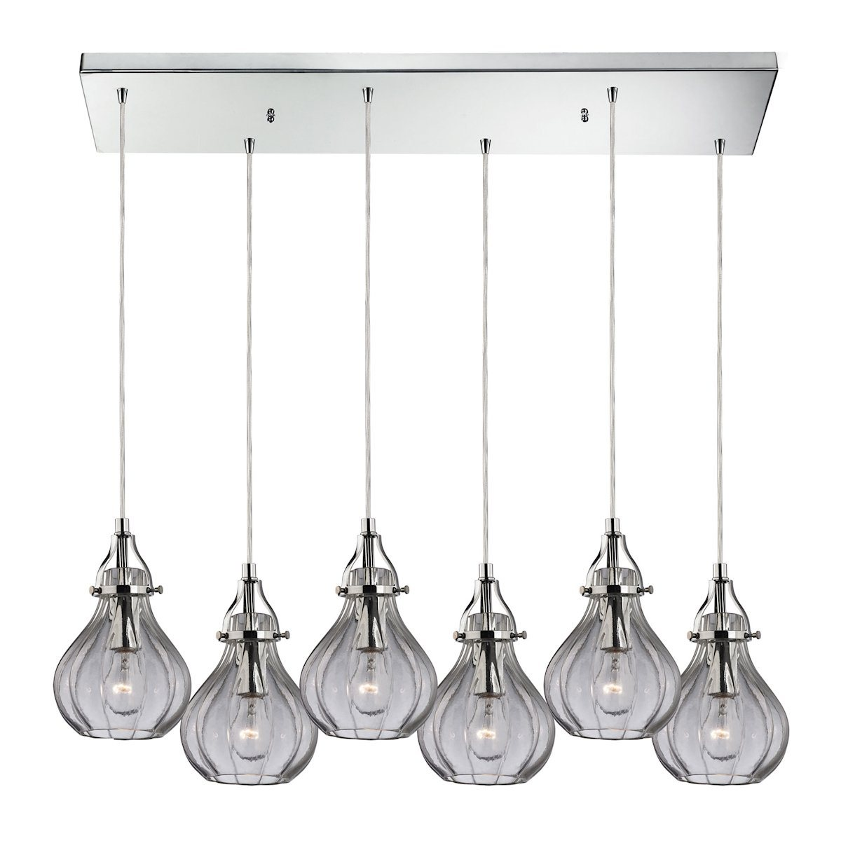 Danica 6 Light Pendant In Polished Chrome And Clear Glass Ceiling Elk Lighting