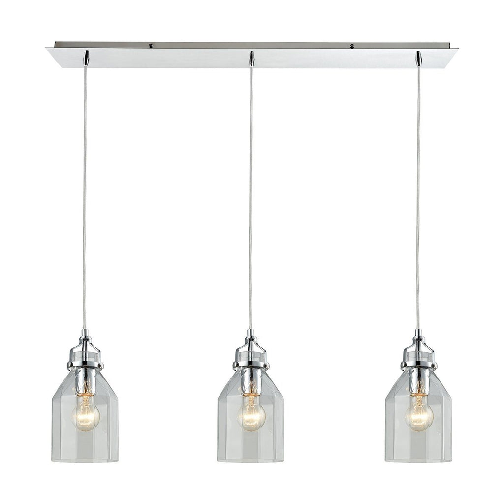 Danica 3 Light Linear Pendant In Polished Chrome Ceiling Elk Lighting