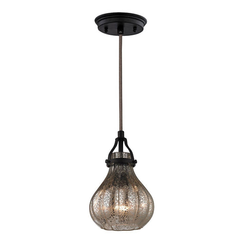"Danica 6""w Pendant In Oil Rubbed Bronze And Mercury Glass"
