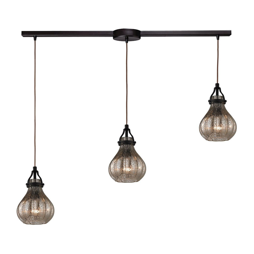 Danica 3 Light Pendant In Oil Rubbed Bronze And Mercury Glass Ceiling Elk Lighting