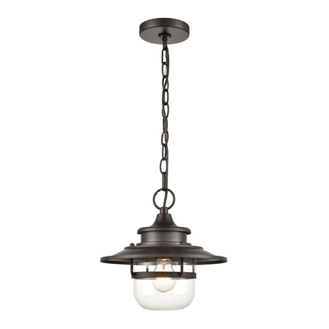 Renninger 1-Light Outdoor Pendant in Oil Rubbed Bronze with Clear Glass
