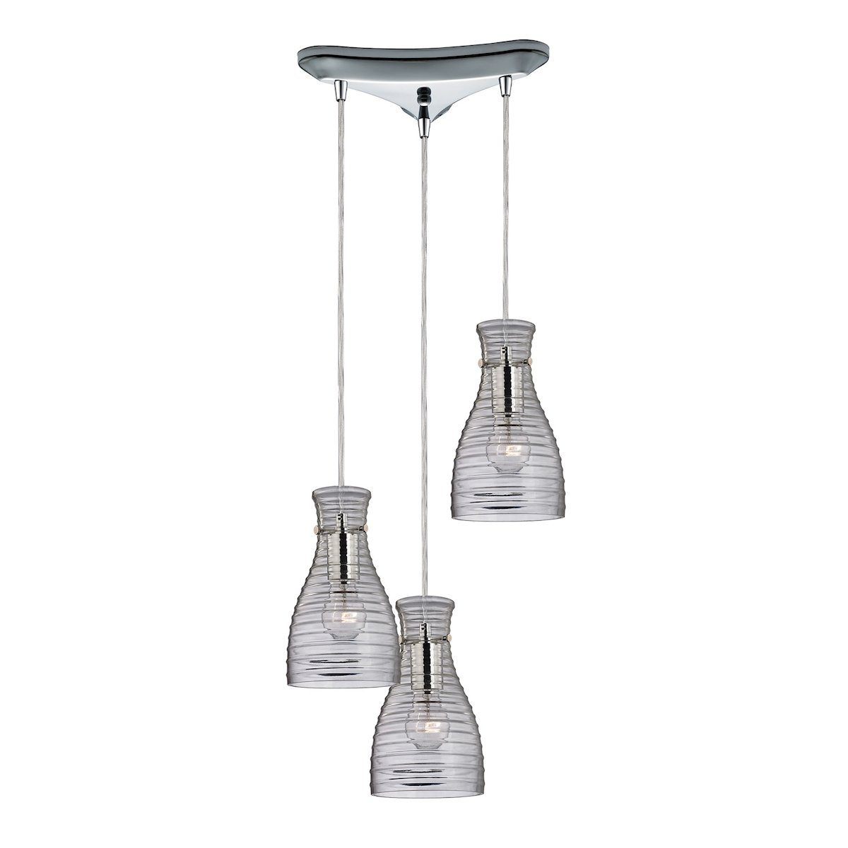 Strata 3 Light Pendant In Polished Chrome And Clear Glass Ceiling Elk Lighting