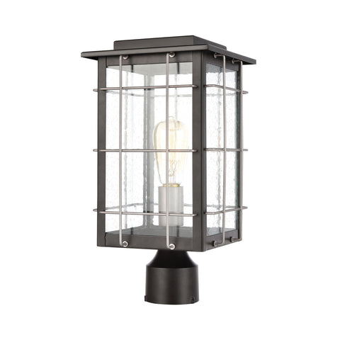 Brewster 1-Light Post Mount in Matte Black with Seedy Glass Outdoor Elk Lighting