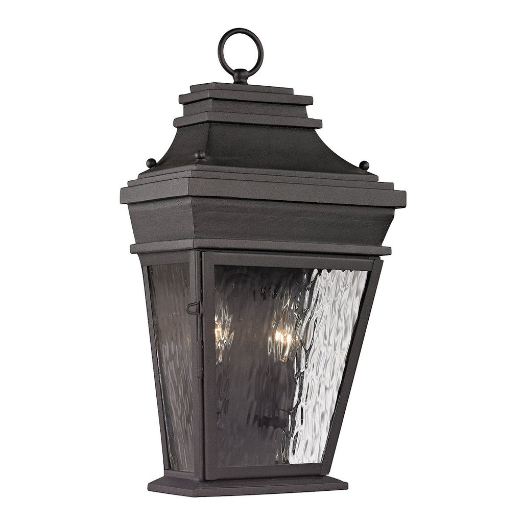 Forged Provincial 2 Light Outdoor Sconce In Charcoal Outdoor Wall Elk Lighting