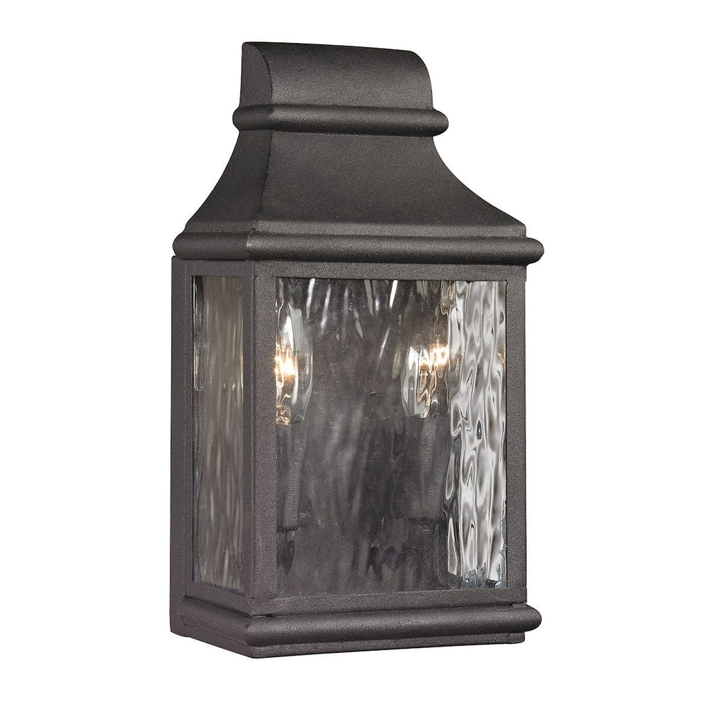 Forged Jefferson 2 Light Outdoor Sconce In Charcoal Outdoor Wall Elk Lighting
