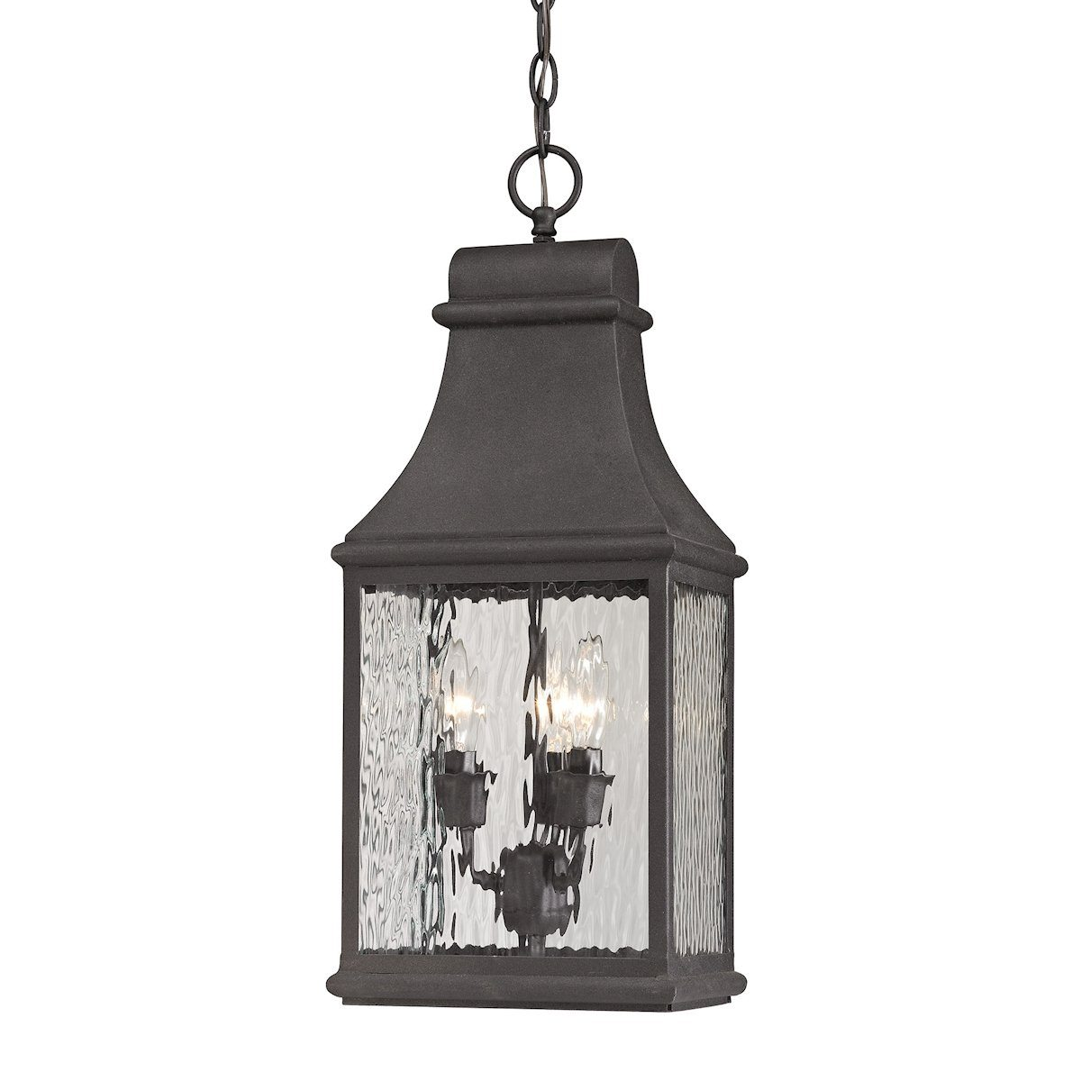 Forged Jefferson 3 Light Outdoor Pendant In Charcoal Outdoor Elk Lighting