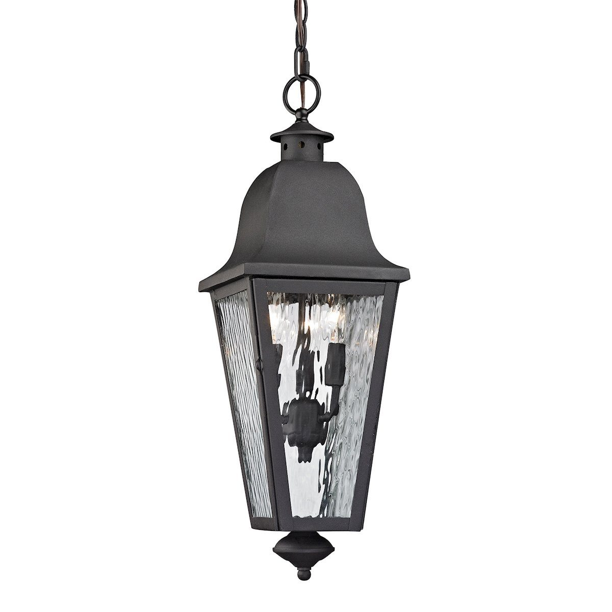 Forged Brookridge 3 Light Outdoor Pendant In Charcoal Outdoor Elk Lighting