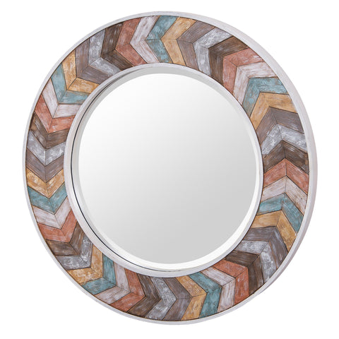 Jemma Waxed Colorful Chevron Wood Round Mirror