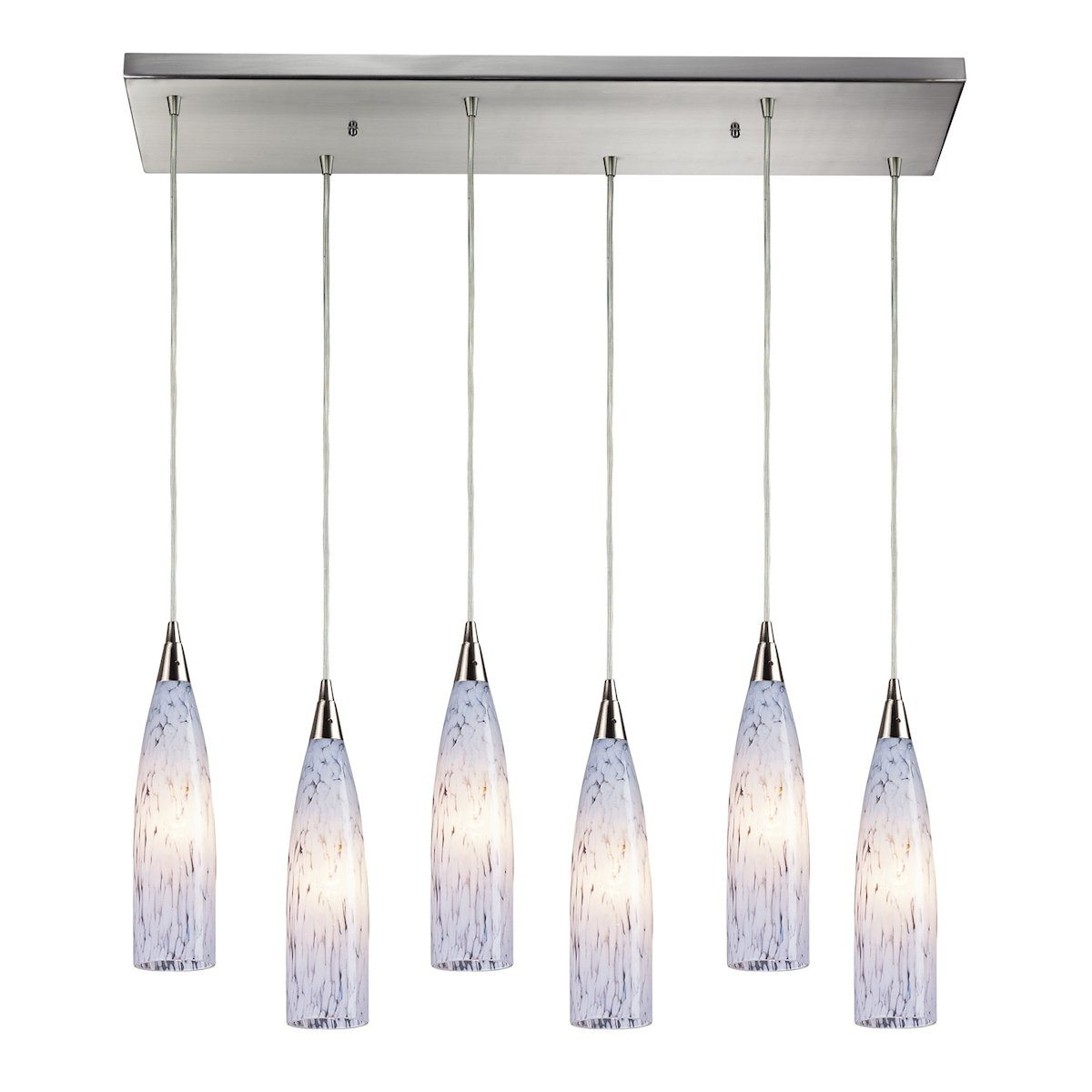 Lungo 6 Light Pendant In Satin Nickel And Snow White Glass Ceiling Elk Lighting