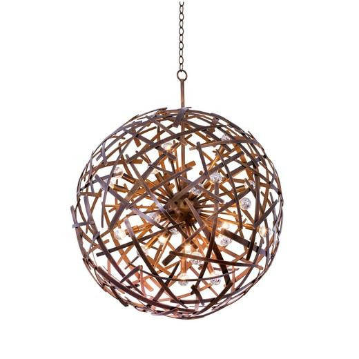 Ambassador 34 Inch Copper Patina Orb Pendant Ceiling Kalco