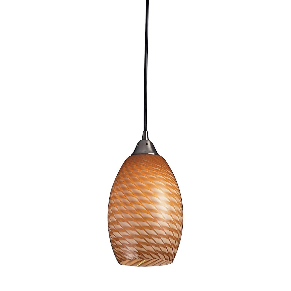 Mulinello LED Pendant In Satin Nickel With Cocoa Glass Ceiling Elk Lighting