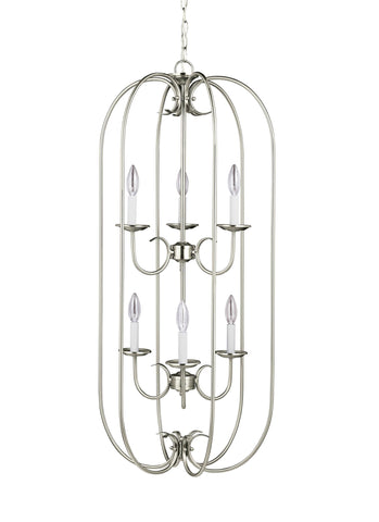 Holman Six Light LED Hall / Foyer - Brushed Nickel Pendants Sea Gull Lighting