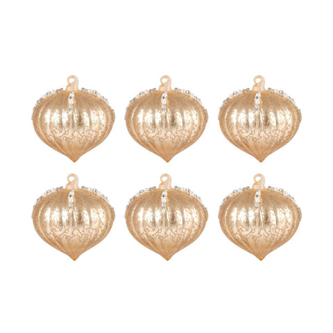 Pointed Ball Set of 6 Ornaments In Gold Accessories Pomeroy