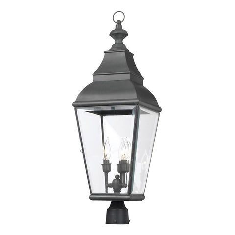Bristol 3 Light Outdoor Post Lantern In Charcoal And Beveled Glass Outdoor Post Elk Lighting