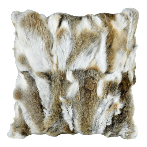 Heavy Petting Genuine Rabbit Fur Accent Pillow in Natural Brown
