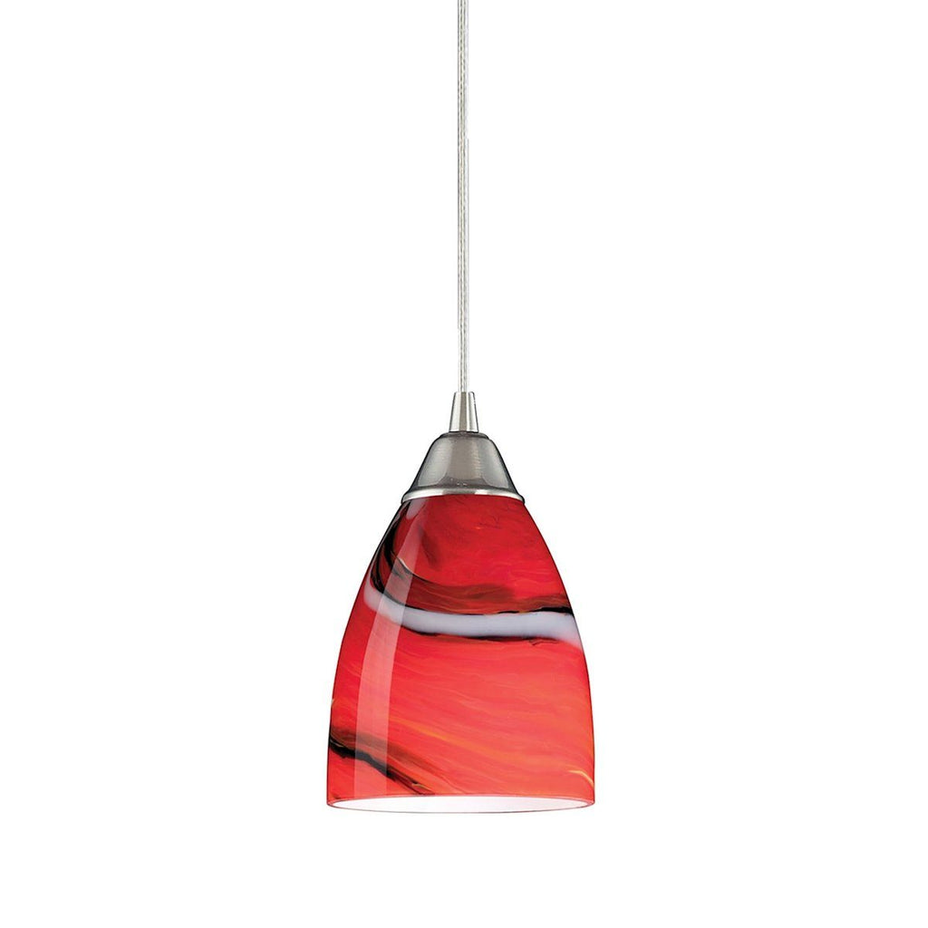 Pierra LED Pendant In Satin Nickel And Candy Glass Ceiling Elk Lighting Red