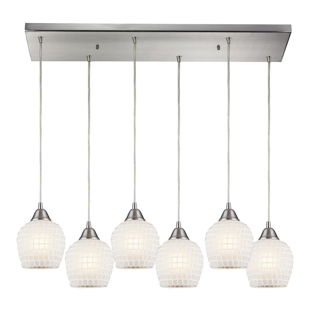 Fusion 6 Light Pendant In Satin Nickel And White Glass Ceiling Elk Lighting