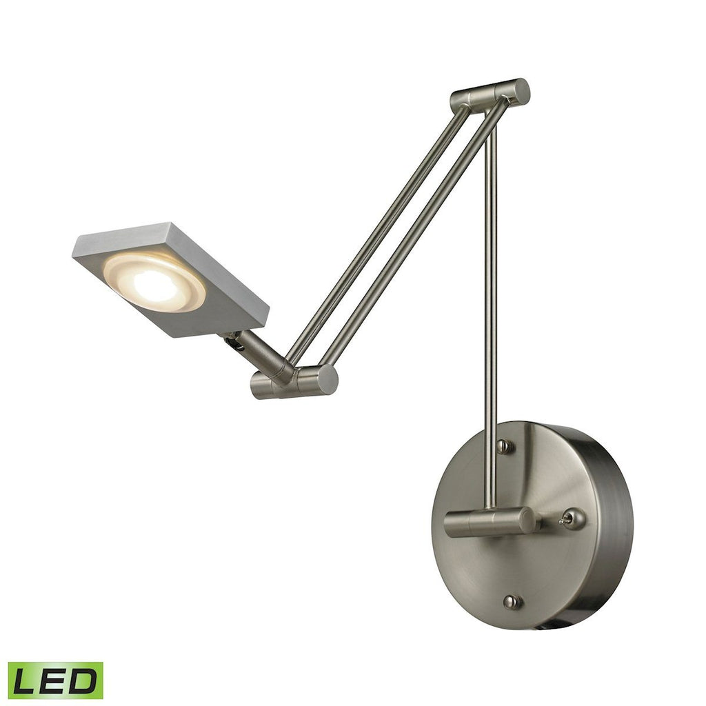 Reilly 1 Light Swingarm In Brushed Nickel And Brushed Aluminum Wall Elk Lighting