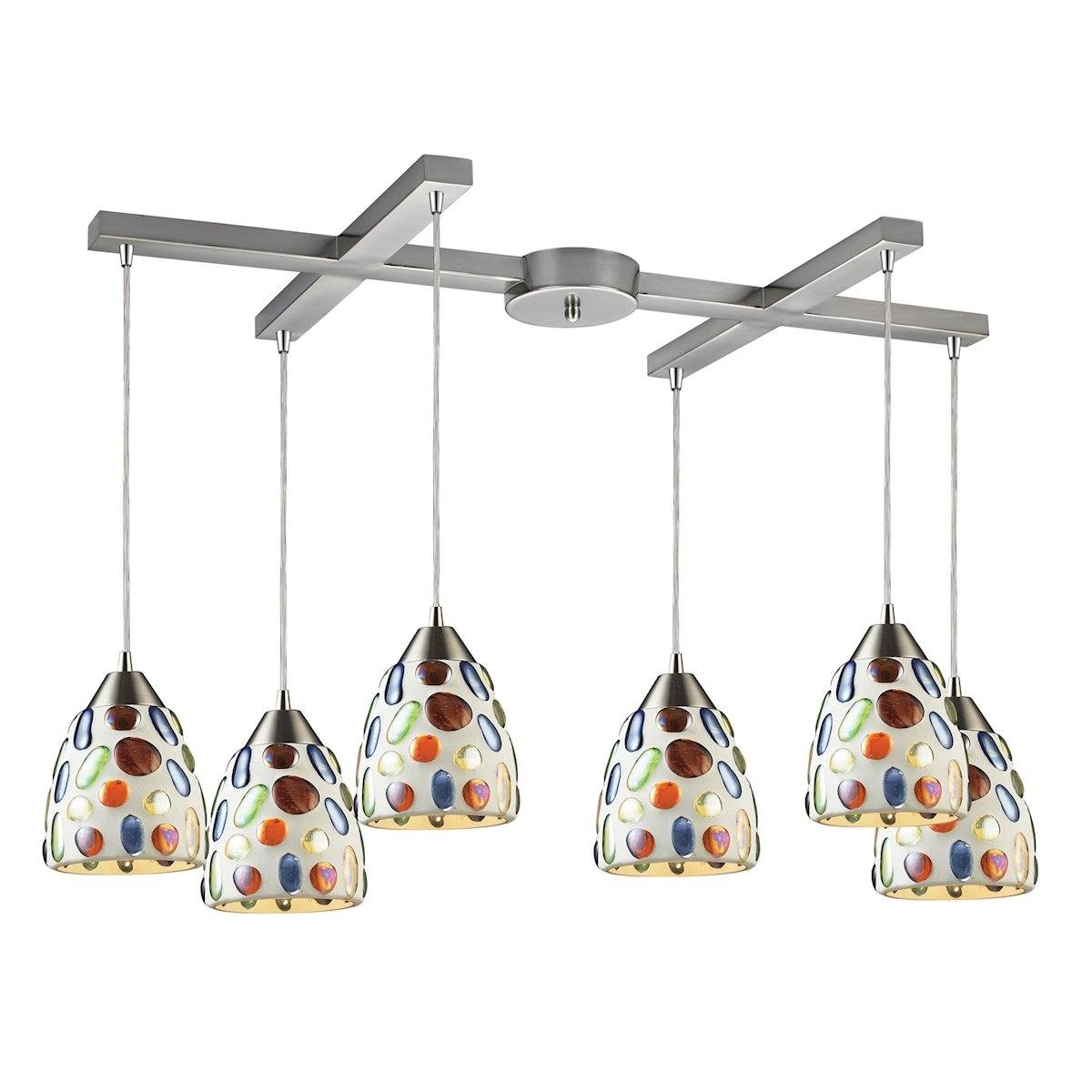 Gemstones 6 Light Pendant In Satin Nickel And Sculpted Multicolor Glass Ceiling Elk Lighting