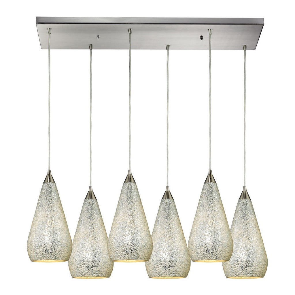 Curvalo 6 Light Pendant In Satin Nickel And Silver Crackle Glass Ceiling Elk Lighting