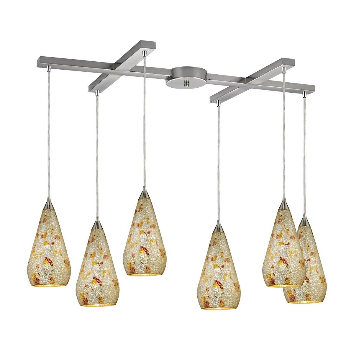 Curvalo 6 Light Pendant In Satin Nickel And Silver Multi Crackle Glass Ceiling Elk Lighting
