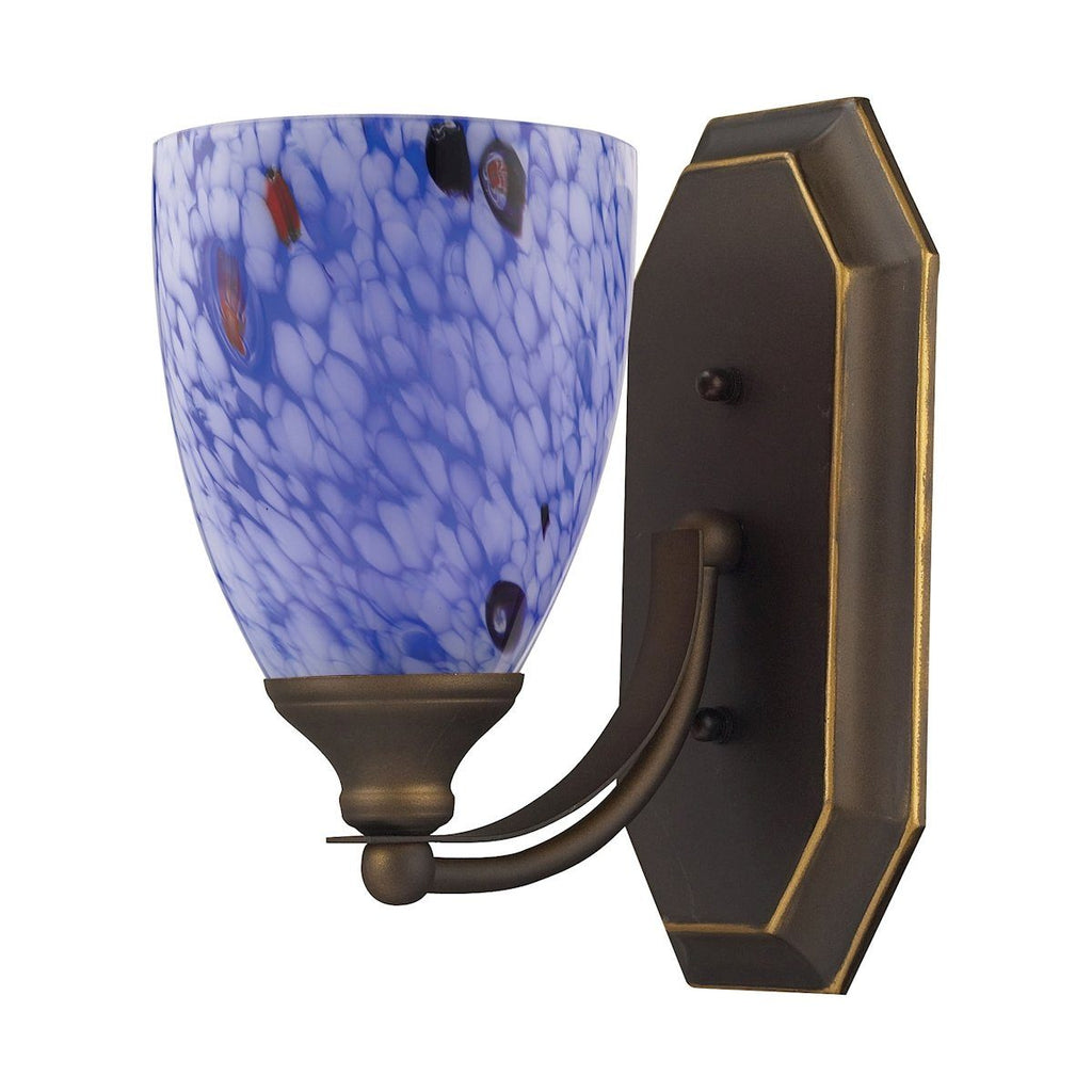 Bath And Spa 1 Light Vanity In Aged Bronze And Starburst Blue Glass Wall Elk Lighting
