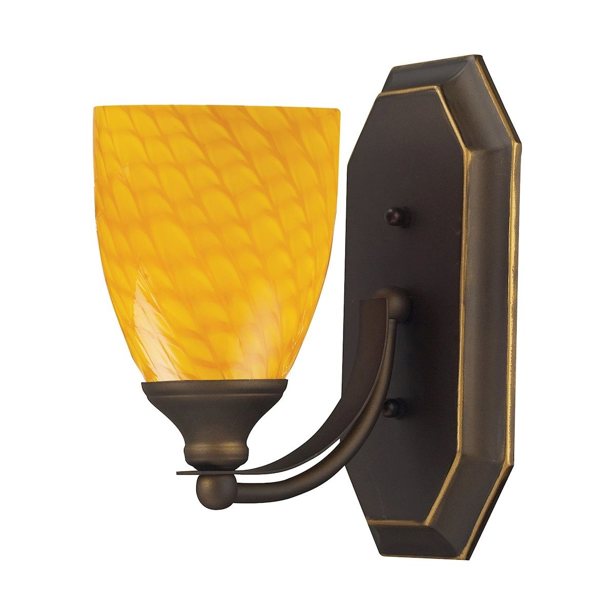 Bath And Spa 1 Light Vanity In Aged Bronze And Canary Glass Wall Elk Lighting