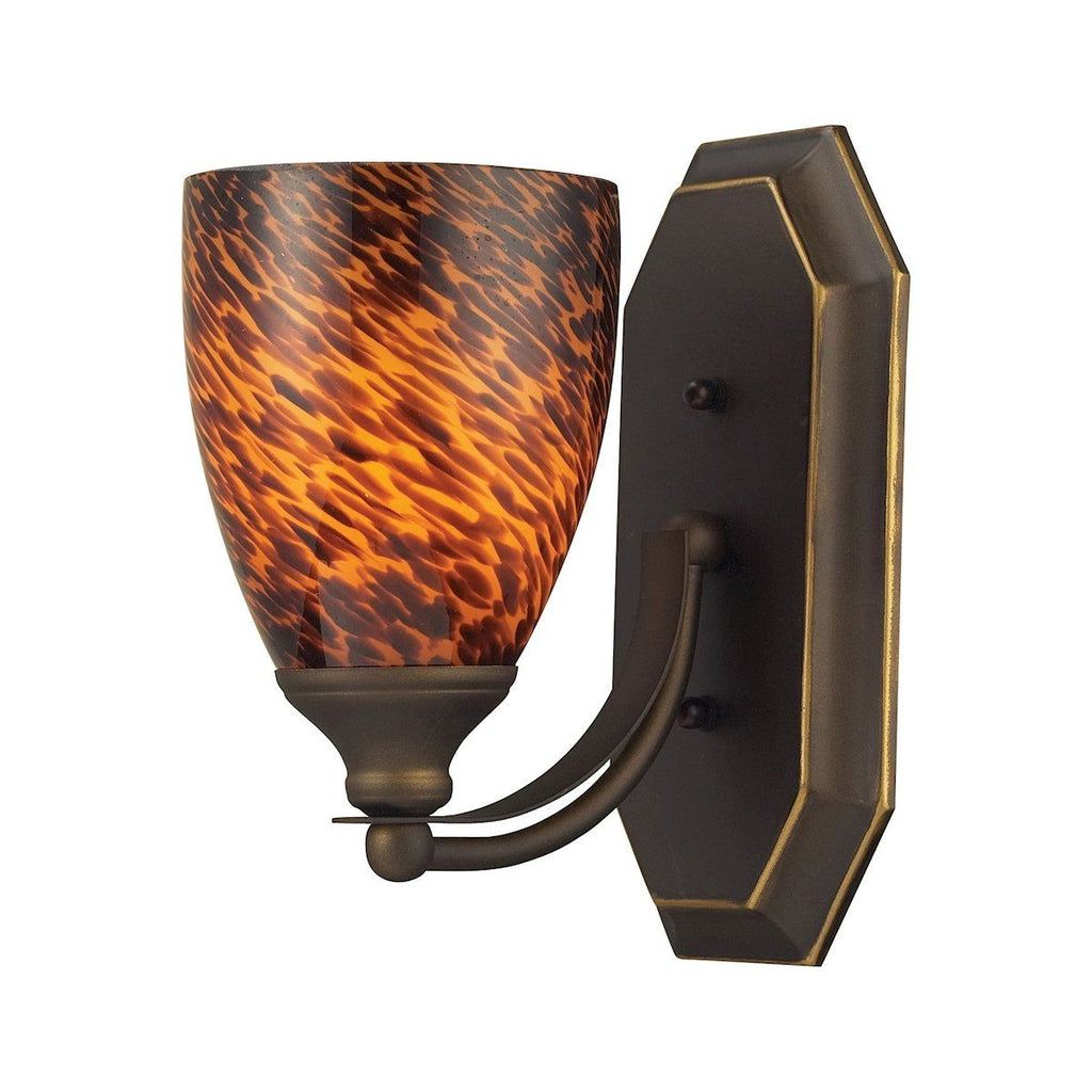 Bath And Spa 1 Light Vanity In Aged Bronze And Espresso Glass Wall Elk Lighting