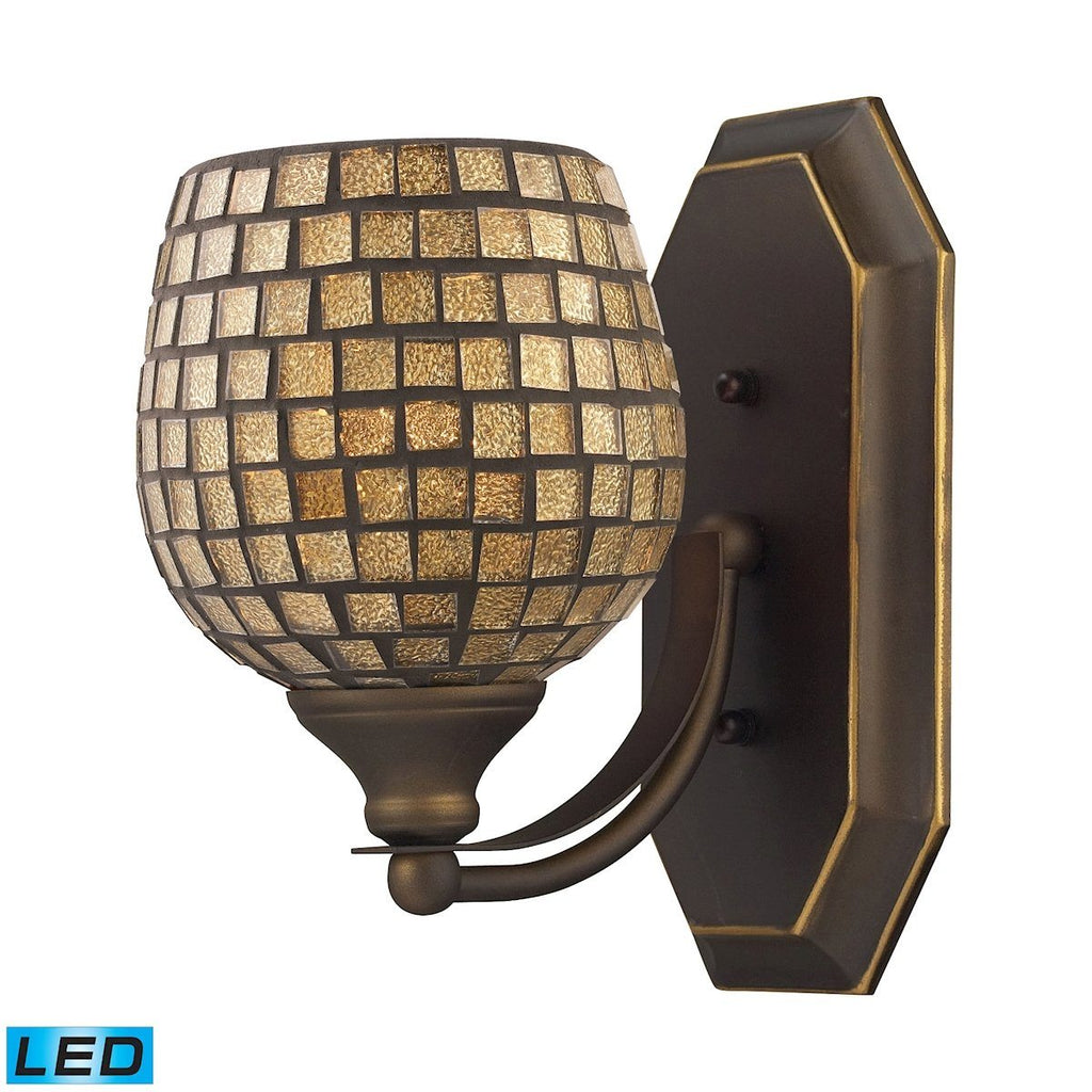 Bath And Spa 1 Light LED Vanity In Aged Bronze And Gold Leaf Glass Wall Elk Lighting