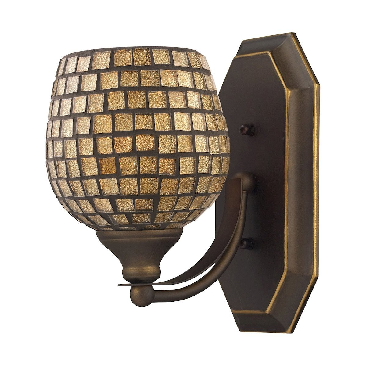 Bath And Spa 1 Light Vanity In Aged Bronze And Gold Leaf Glass Wall Elk Lighting