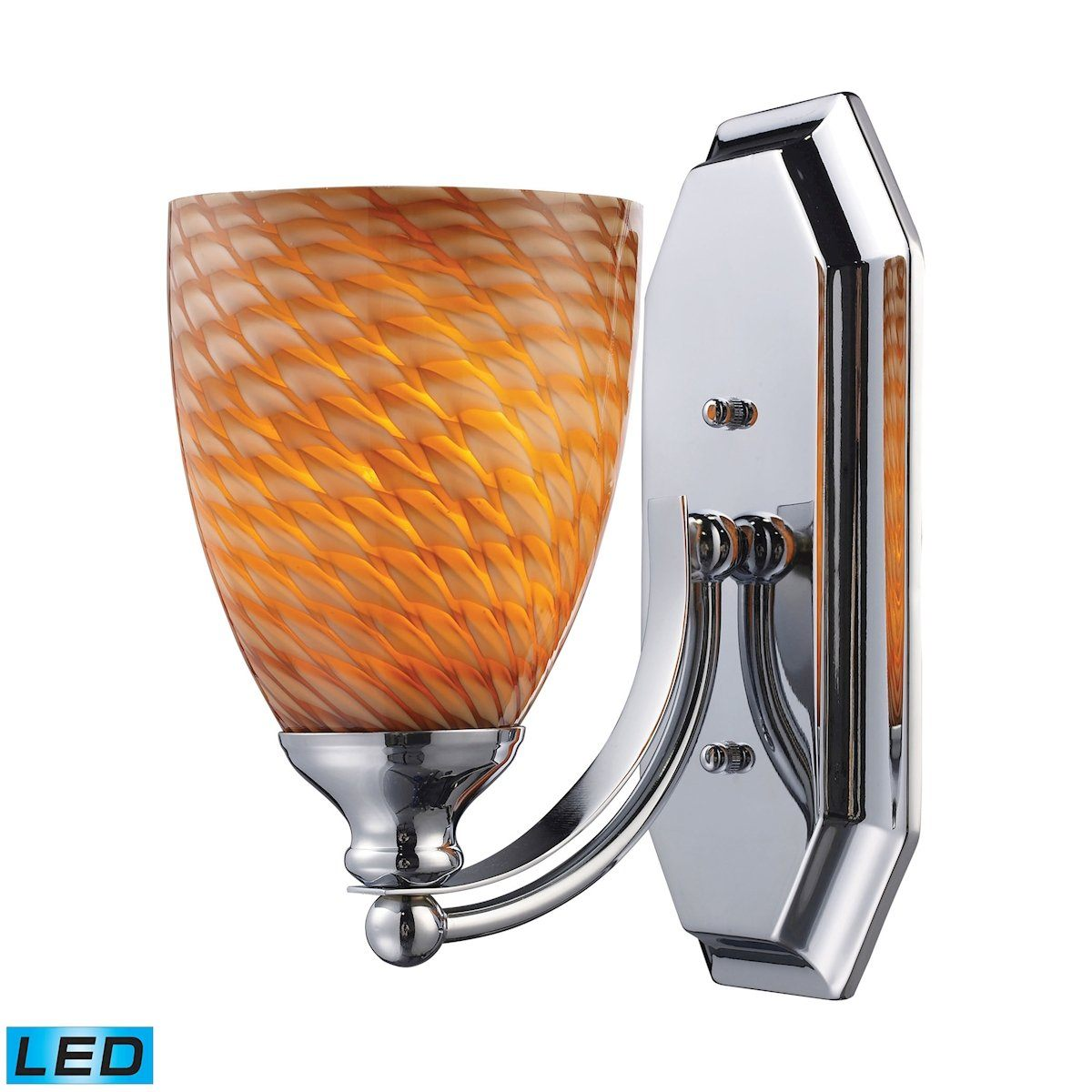 Bath And Spa 1 Light LED Vanity In Polished Chrome And Cocoa Glass Wall Elk Lighting