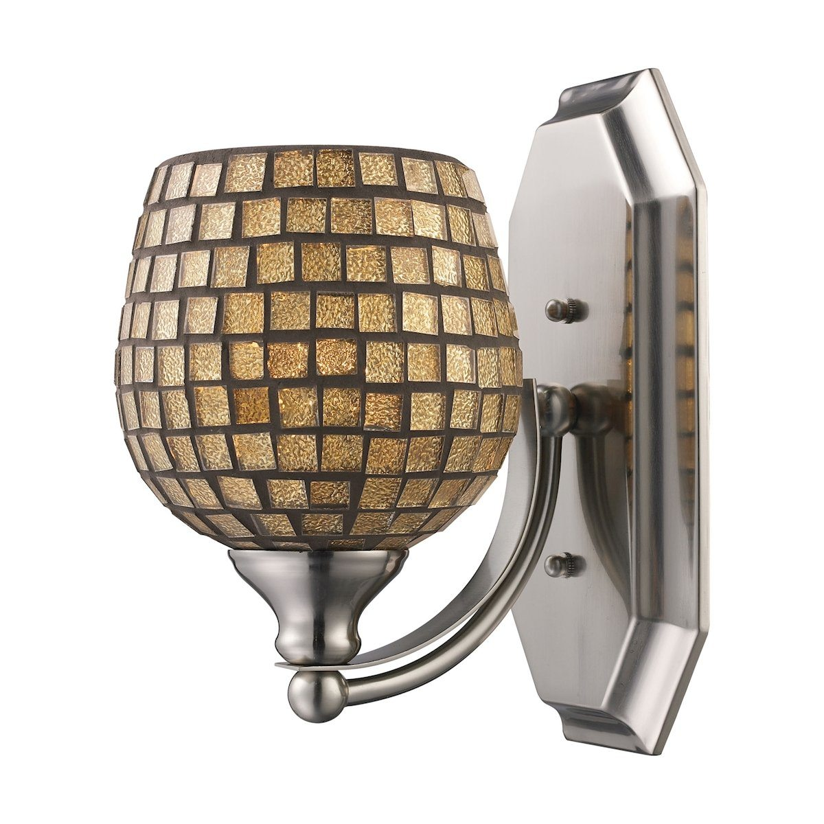 Bath And Spa 1 Light Vanity In Polished Chrome And Gold Leaf Glass Wall Elk Lighting