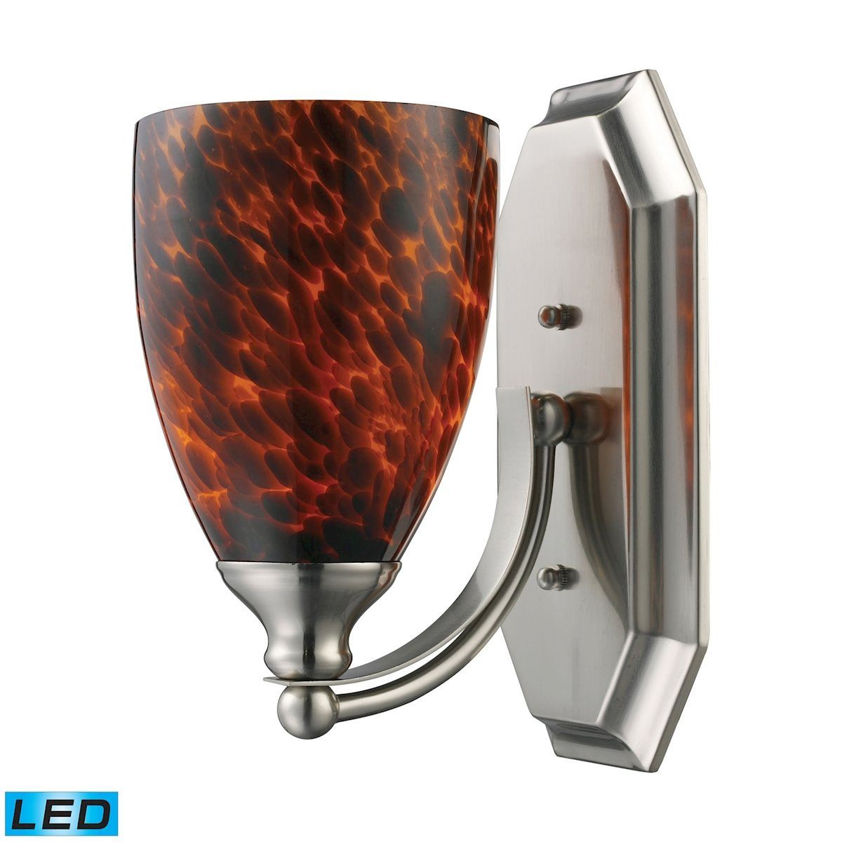 Bath And Spa 1 Light LED Vanity In Satin Nickel And Espresso Glass Wall Elk Lighting