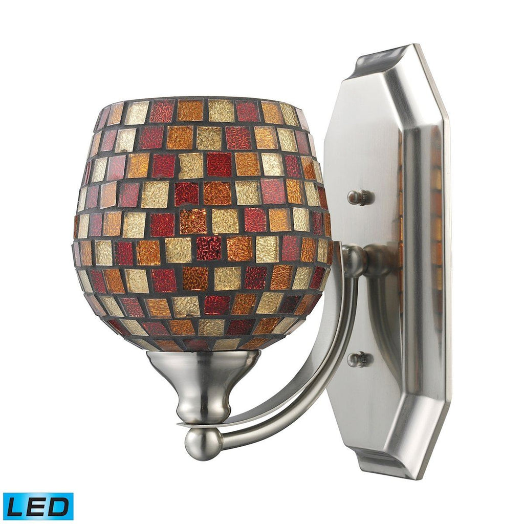Bath And Spa 1 Light LED Vanity In Satin Nickel And Multi Fusion Glass Wall Elk Lighting