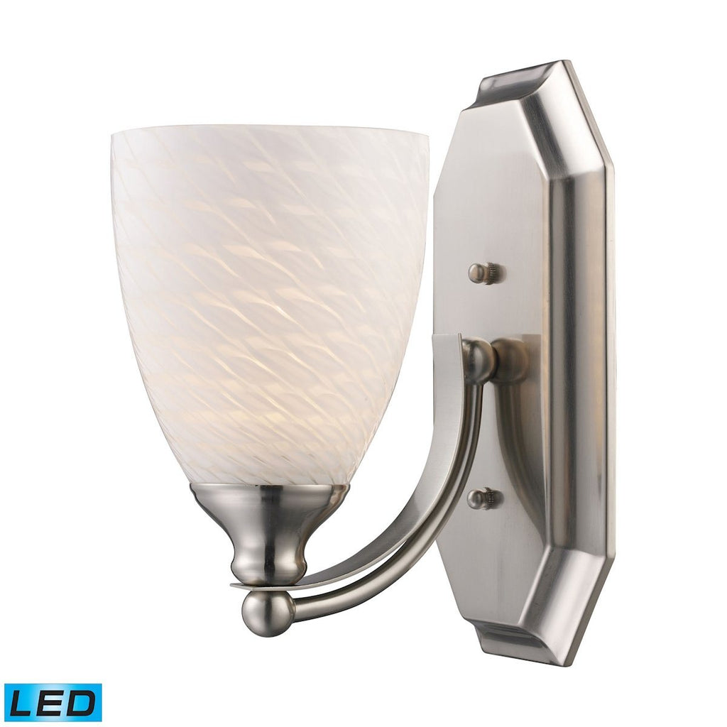 Bath And Spa 1 Light LED Vanity In Satin Nickel And White Swirl Glass Wall Elk Lighting