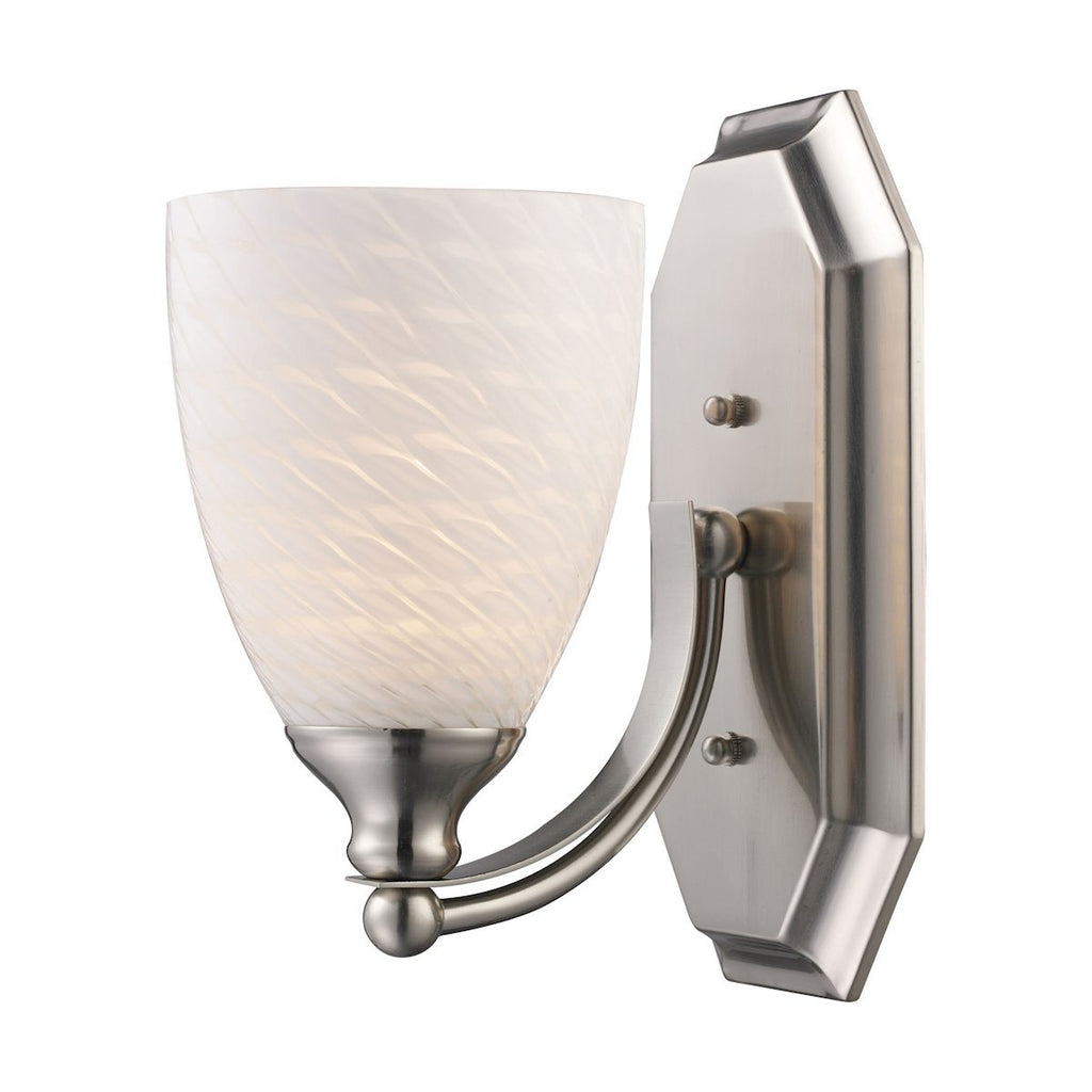 Bath And Spa 1 Light Vanity In Satin Nickel And White Swirl Glass Wall Elk Lighting