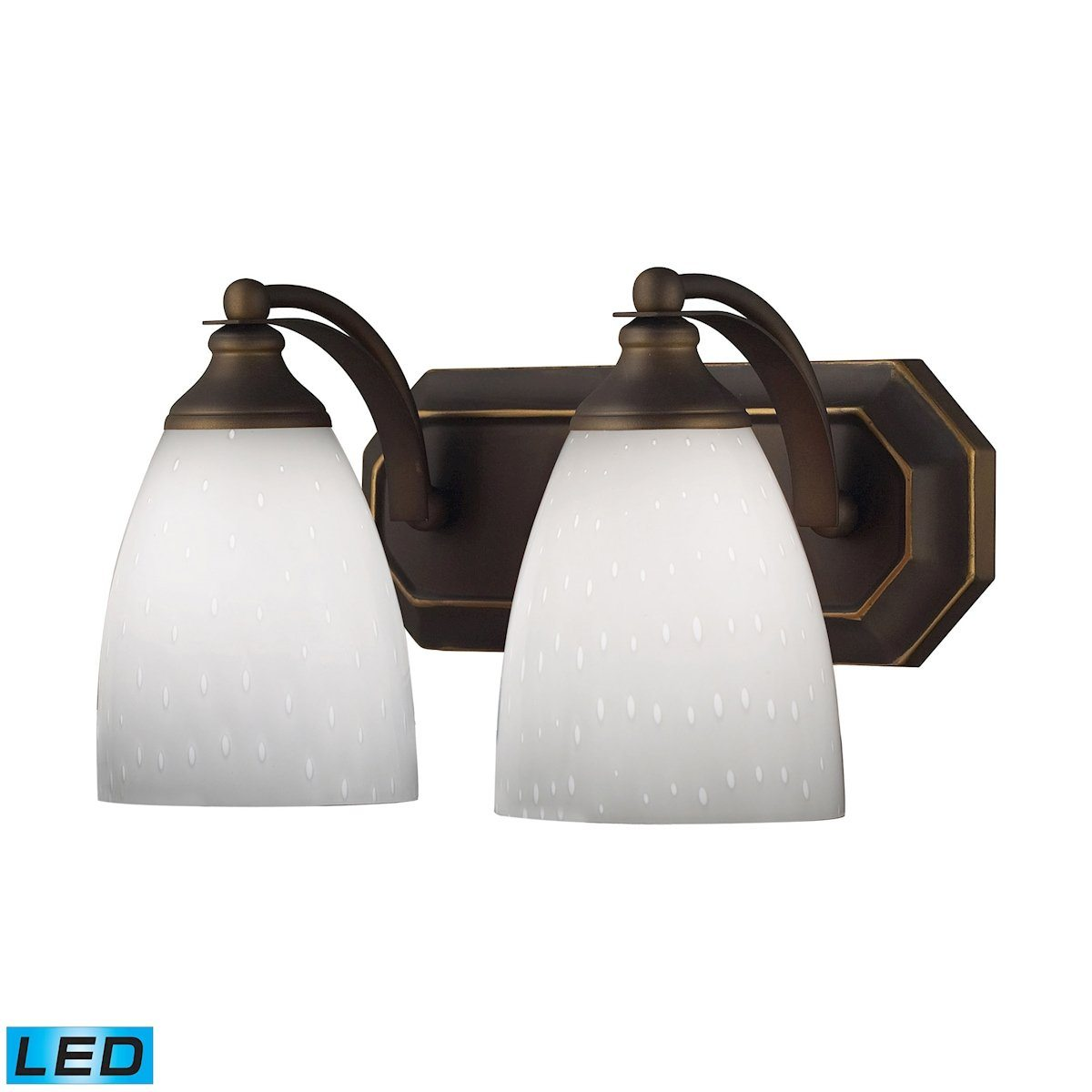 Bath And Spa 2 Light LED Vanity In Aged Bronze And Simple White Glass Wall Elk Lighting