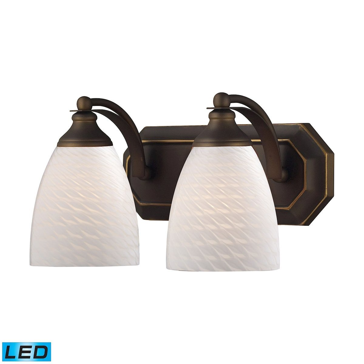 Bath And Spa 2 Light LED Vanity In Aged Bronze And White Swirl Glass Wall Elk Lighting