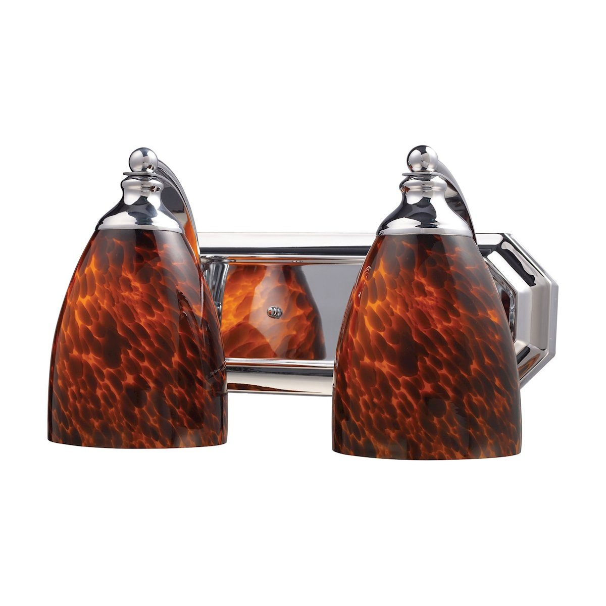 Bath And Spa 2 Light Vanity In Polished Chrome And Espresso Glass Wall Elk Lighting