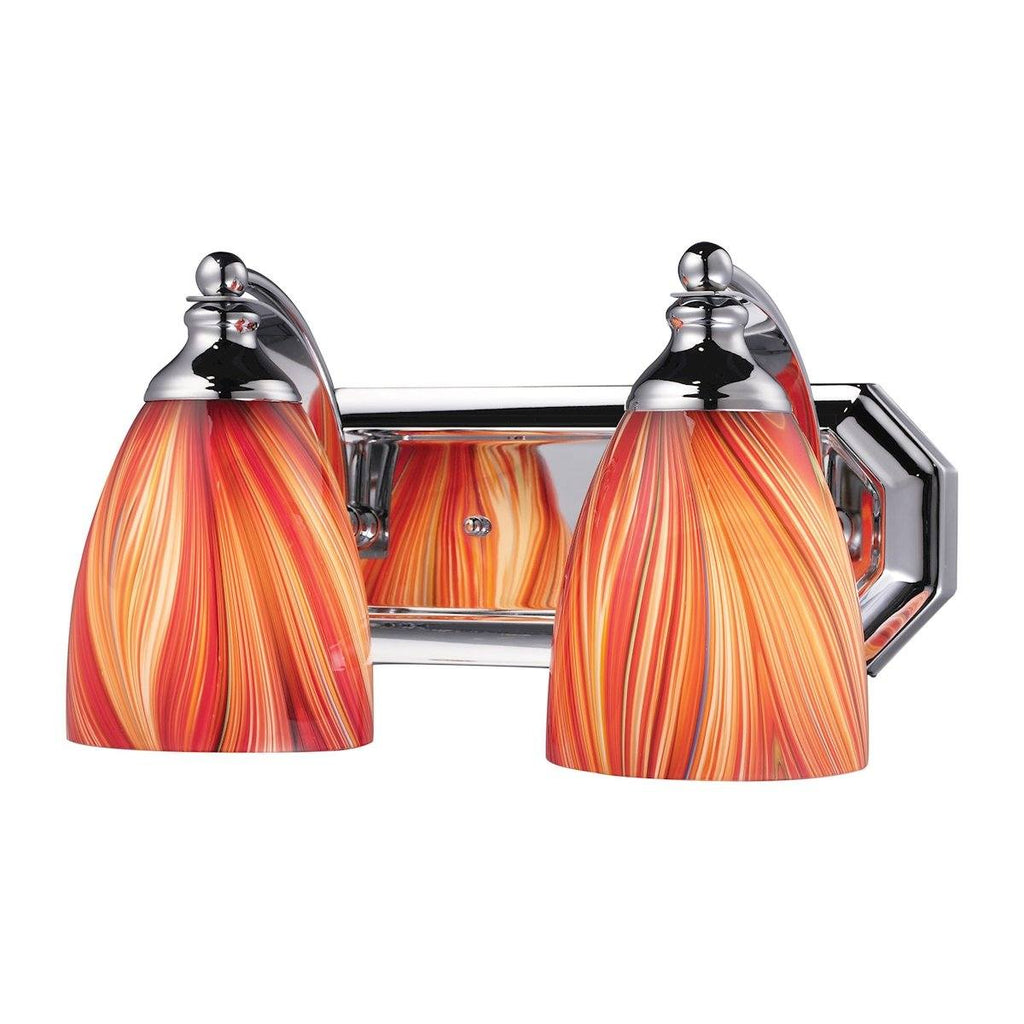 Bath And Spa 2 Light Vanity In Polished Chrome And Multi Glass Wall Elk Lighting