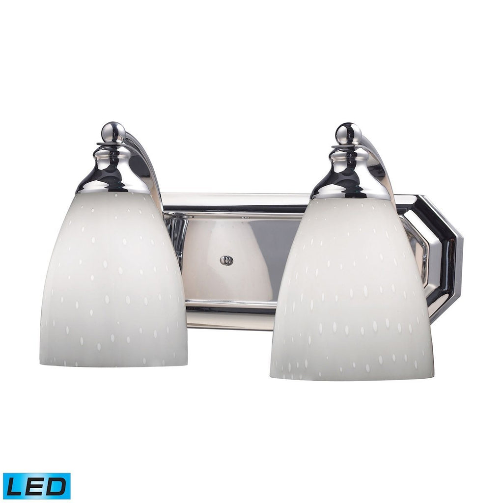 Bath And Spa 2 Light LED Vanity In Polished Chrome And Simple White Glass Wall Elk Lighting