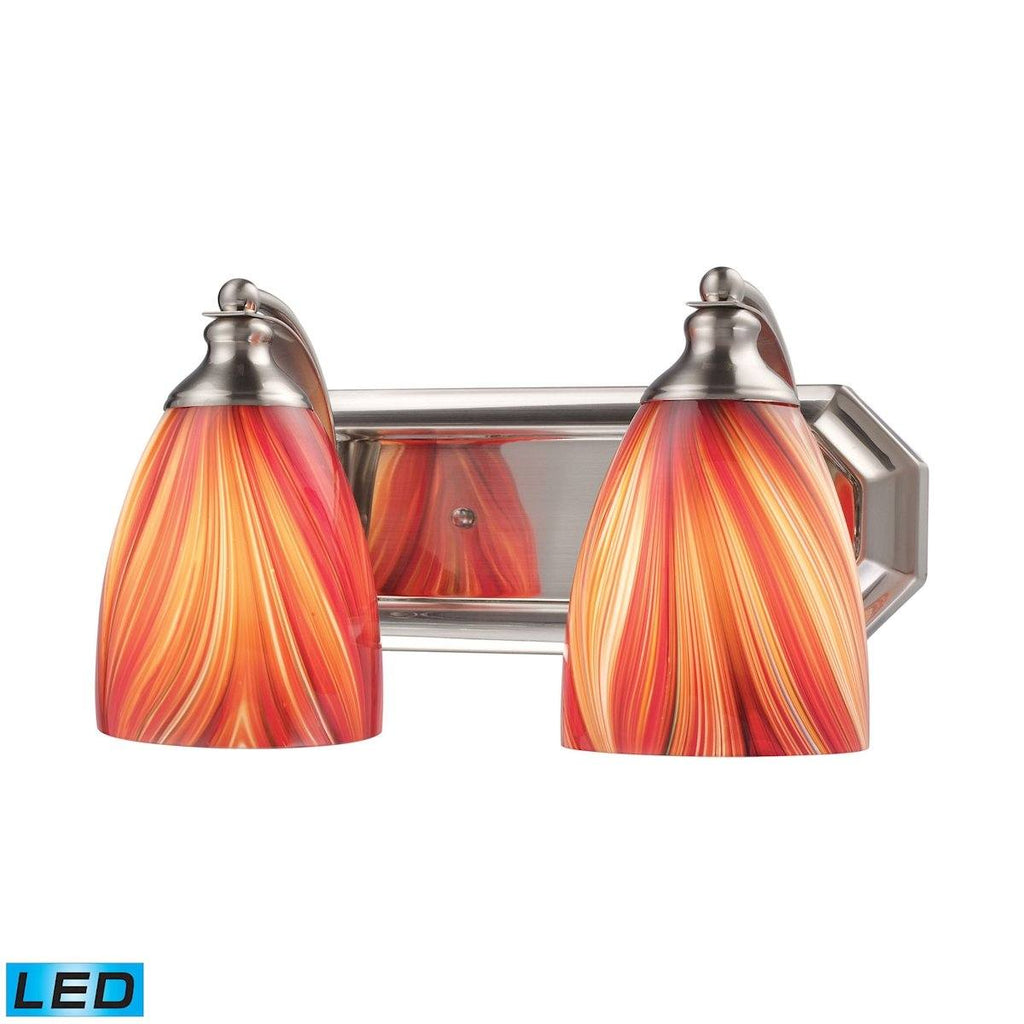Bath And Spa 2 Light LED Vanity In Satin Nickel And Multi Glass Wall Elk Lighting