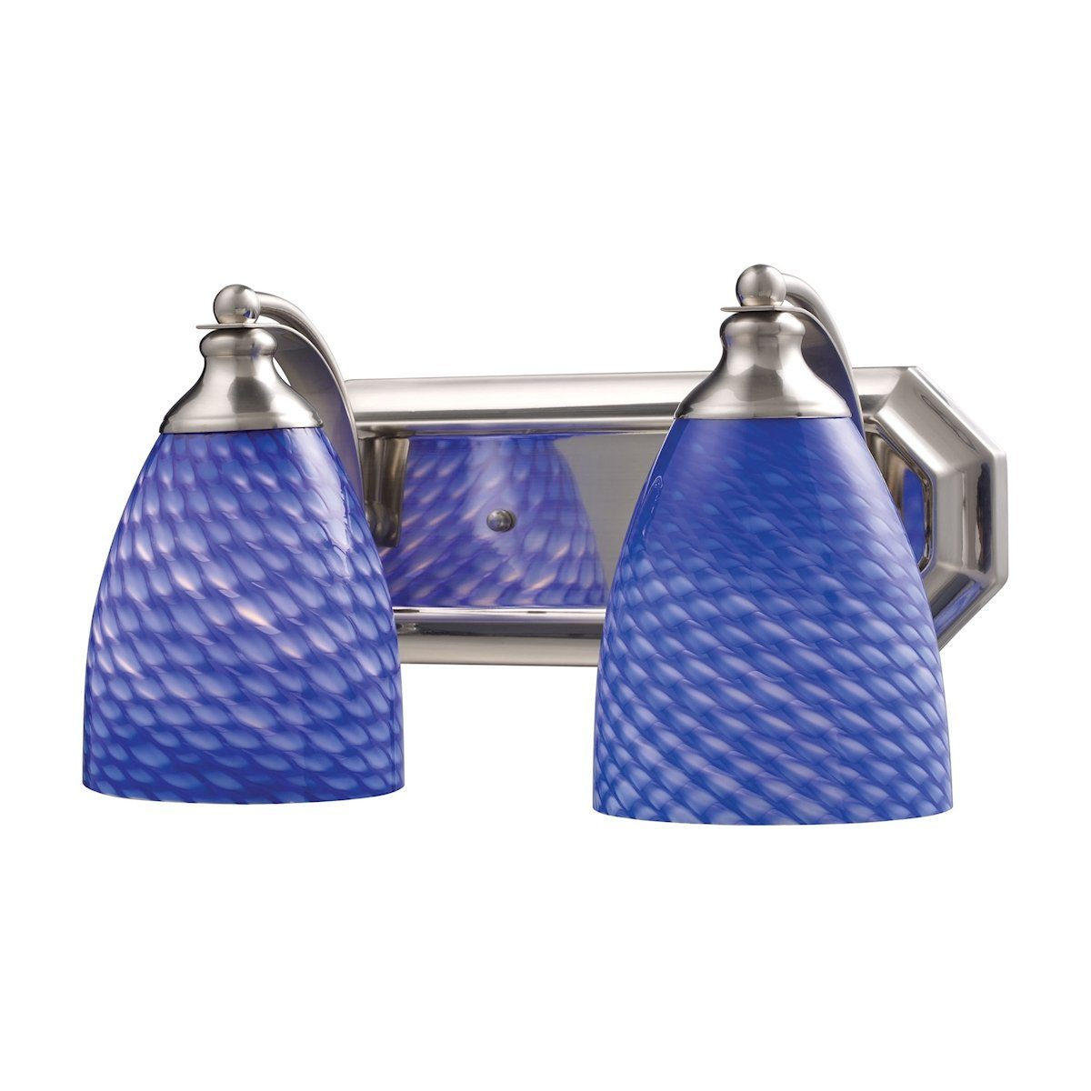 Bath And Spa 2 Light Vanity In Satin Nickel And Sapphire Glass Wall Elk Lighting
