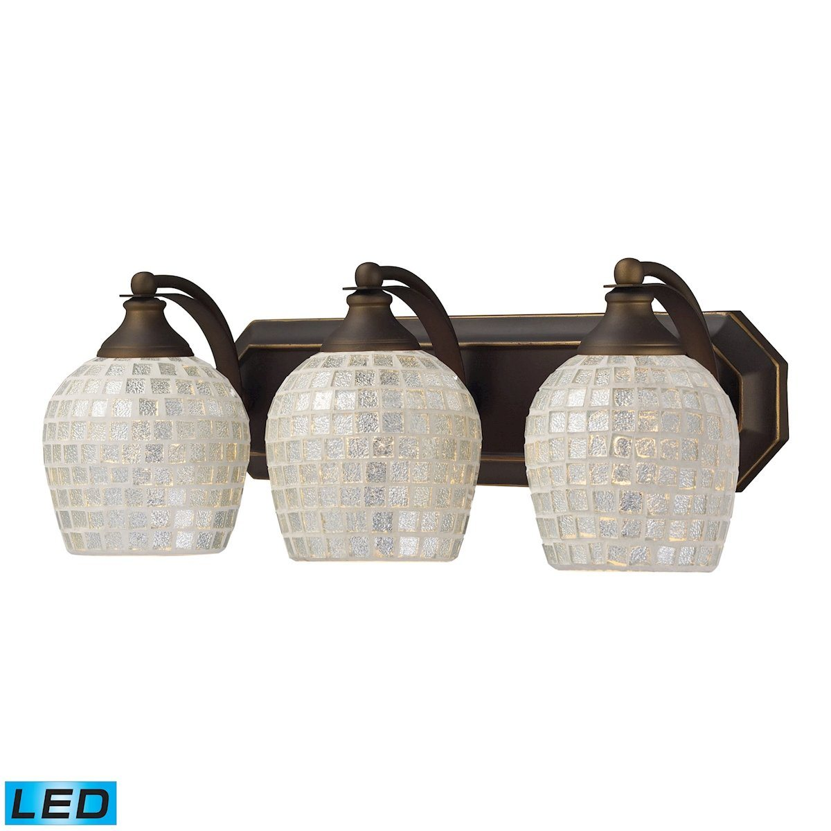 Bath And Spa 3 Light LED Vanity In Aged Bronze And Silver Glass Wall Elk Lighting